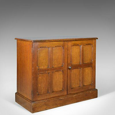 Antique Oak Cupboard, Two Door, English, Panelled, Low Cabinet Edwardian, c.1910