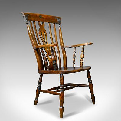 Antique Elbow Chair, Edwardian, Country Kitchen, Windsor Armchair, Circa 1910