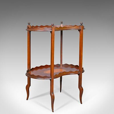Antique Tea Table, English, Edwardian, Two Tier, Gallery, Side, Circa 1910