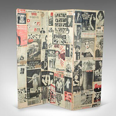 Antique Three Fold Screen, Victorian Pasted with 1970s Music Scraps, Punk, Metal