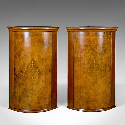 Antique Pair of Georgian Revival Corner Cabinets, English, Burr Walnut, c.1910