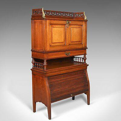 Antique Bureau Cabinet, English, Edwardian, Walnut Cupboard, Circa 1910