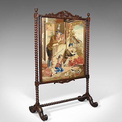 Large Antique Fire Screen, Needlepoint Tapestry Panel, Walnut Frame, Circa 1850