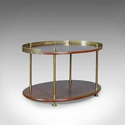 Antique Ship's Table, English, Mahogany, Brass, Two Tier, Side, Edwardian c.1910