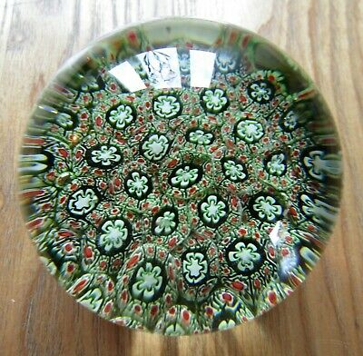 Beautiful Vintage Murano Italian Millefiori Art Glass Paperweight High Dome