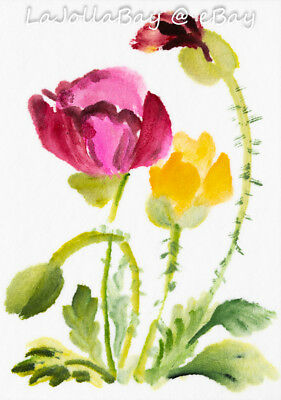 """Poppy Flower Original ACEO Art Watercolor Painting 2.5x3.5"""" by Artist MK"""