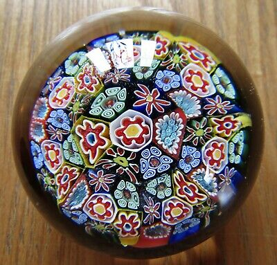 Beautiful Vintage Murano Italian Scrambled Millefiori Art Glass Paperweight Dome