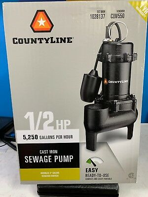 CountyLine Cast Iron Sewage Pump CLW550 1028137 1/2 HP 5,250 GPH Tethered NEW!