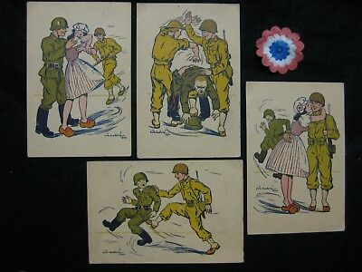 4 Wwii Us Soldier Kicks German Soldier Gets French Girl Postcards & Hat Rosette
