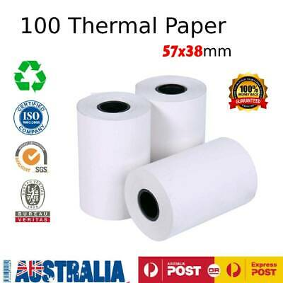 100 x Premium 57x38mm Thermal Paper EFTPOS Rolls for Cash Register Receipts