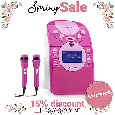 SYSTEME KARAOKE jeu fille ScreenStar CAMÉRA ENREGISTREMENT CD USB 2 MICROS ROSE