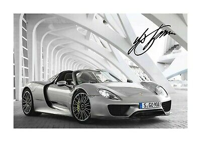 Porsche 918 Spyder reproduction autograph car poster. Choice of frame.