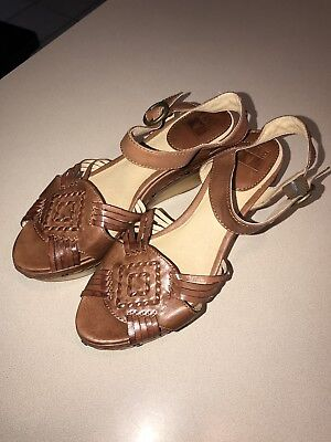 6cd5902522361 FRYE CARLIE BROWN Leather Wooden Wedge Sandals Size 10 -  45.00 ...