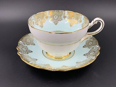 Paragon Green With Gold Lace Tea Cup And Saucer Set Bone China England