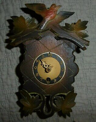 Nice Vintage Antique Germany Black Forest Miniature Cuckoo Bird Clock with Key