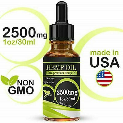 Hemp Seed Oil Drops CBD Organic Anti-Inflammatory Pain Relief Sleep Aid 2500mg