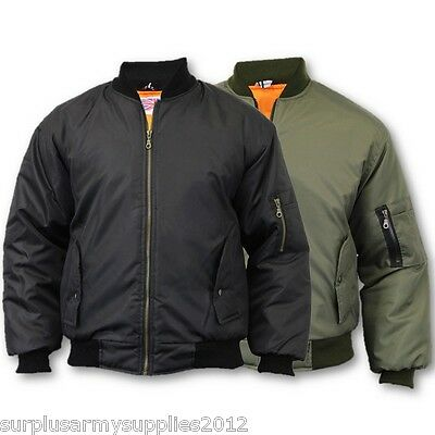 Mens Bomber Jacket Us Army Military Style Coat Pilot Biker Fashion Ma1 Ek