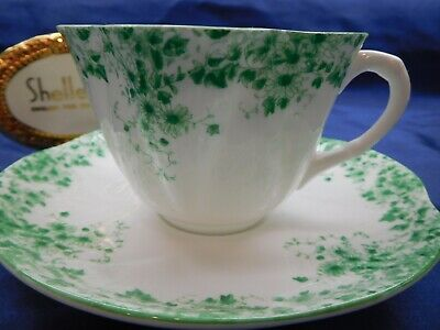 Shelley  Dainty Green  Daisy    * *   Cup And Saucer  * Very Rare