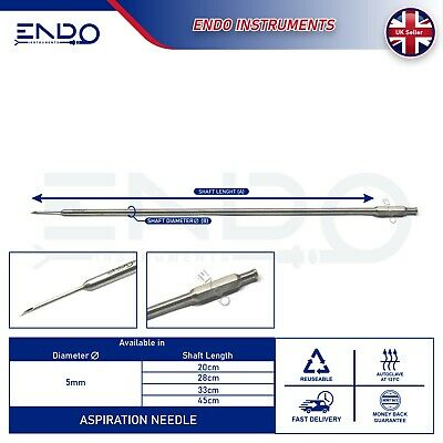 ENDO® New Laparoscopy 5mm ASPIRATION NEEDLE 330mm Laparoscopic Bile Duck Needle