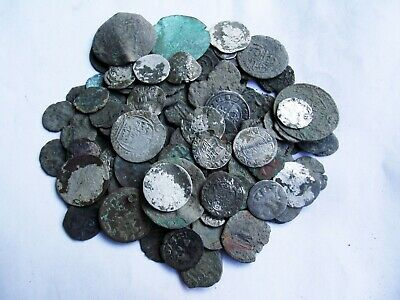 131 medieval coins lot silver and bronze XIV-XVII century