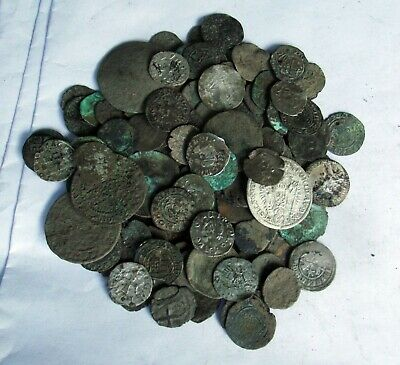 136 medieval coins lot silver and bronze XIV-XVII century