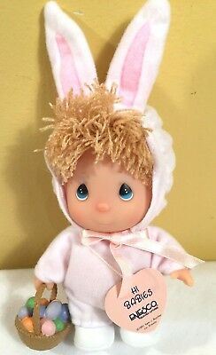 "Vintage Precious Moments Hi Babies Bunny Rabbit Easter Basket 7"" Doll NEW"