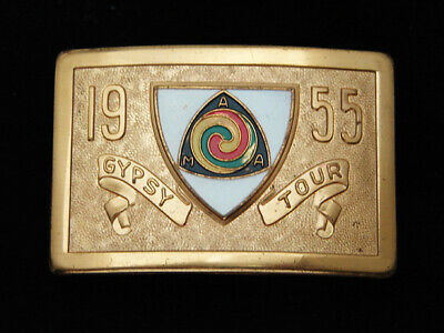 Qi05172 Great Vintage 1955 **Ama Gypsy Tour** Motorcycle Solid Brass Belt Buckle