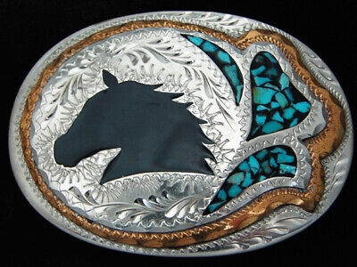 RC11163 VINTAGE 1970s **HORSE** ENGRAVED SOUTHWESTERN DESIGN ART BELT BUCKLE