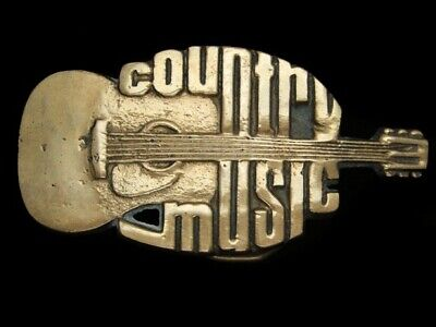 Qi03170 Vintage 1980 **Country Music** Commemorative Solid Brass Belt Buckle