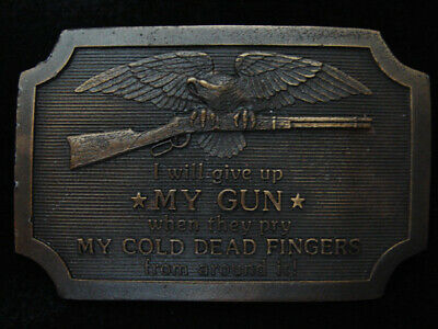 Qf03114 Vintage 1977 **I Will Give Up My Gun When...** 2Nd Amendment Belt Buckle