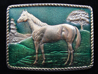 Re07154 *Nos* Vintage 1979 **Horse** Commemorative Brasstone Belt Buckle