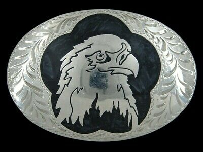 RI15137 VINTAGE 1980s **AMERICAN BALD EAGLE** SOUTHWESTERN DESIGN BELT BUCKLE