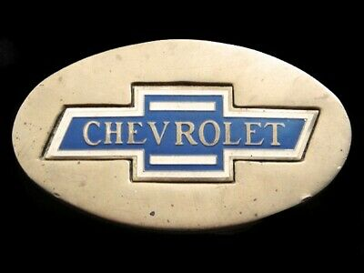 RE09139 VINTAGE 1970s **CHEVROLET** ADVERTISEMENT SOLID BRASS BARON BELT BUCKLE