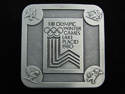 Re11176 *Nos* Vintage 1980 **Xiii Olympic Winter Games Lake Placic** Belt Buckle