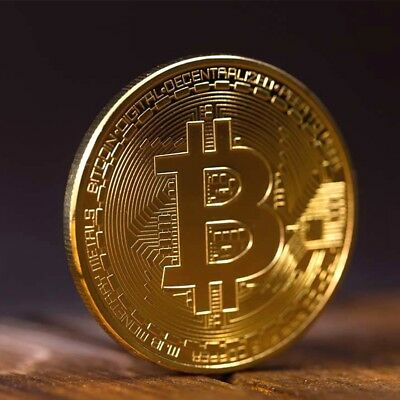 10Pcs Bitcoin Commemorative Round Collectors Coin Bit Coin Gold Plated Coin AU