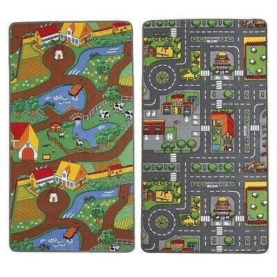 Kids Children's Reversible Roadmap/Farmlife Play Mat Rug Dual Mats 100 X 165cm