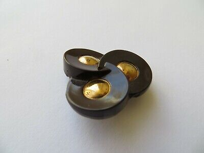 Vintage Med Gold-dome 'Triple Trinity Ring' Glass Brown Coat Dress Button-30mm