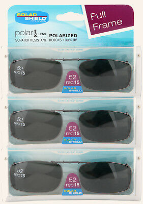 98ebb57645 3 PACK Solar SHIELD CLIP ON Sunglasses FULL FRAME 52 REC 15 W CASE FREE  SHIPPING