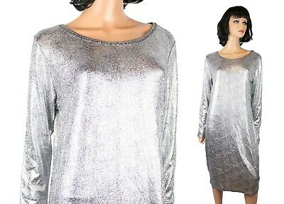 NWT LulaRoe Debbie Dress XL Shiny Metallic Silver Cocktail Gown Bodycon Strechy