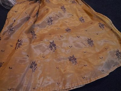 Vintage Sari Saree Beige Tan Linen? Cotton? Embroidered Dress Pants Scarf Silk?