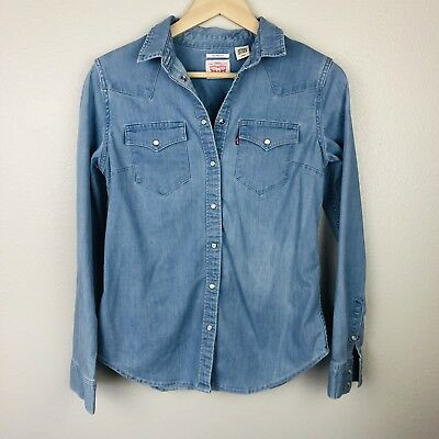 Levi Strauss Women's Blouse Button Down Chambray Western Pearl Buttons - Size S