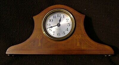 Antique Mahogany Inlaid Mantle Clock circa early1900s. Working