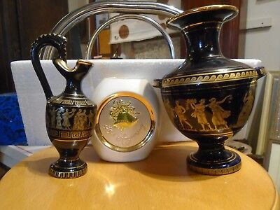 Blue Hand Made Grecian Vase with 24 K Gold Made In Greece +2