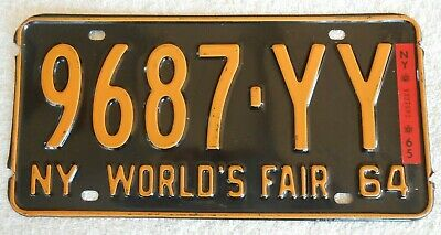 1964 New York World's fair Licence Plate With 1965 Sticker