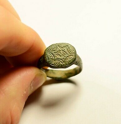 Perfect Roman Bronze Ring With Decorated Bezel - Wearable Artifact