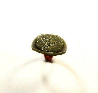 Magic! Rare Ancient Roman Bronze Ring With Pentagram On Bezel - Small Size