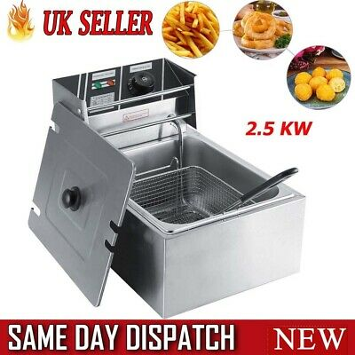 2500 W Professional Electric Deep Fat Fryer Basket Fried Non Stick Pan 6 L UK