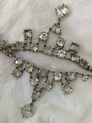Vintage Antique Art Deco Reversible Two Sided Crystal Paste Open Back Necklace