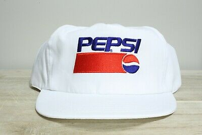 068898c47b7 Vintage 90 s Pepsi White Embroidered Snap Back Trucker Hat New Old Stock