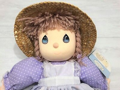 "New Genuine Precious Moments Doll Cloth -Straw Hat Purple Floral Dress 14"" Tall"